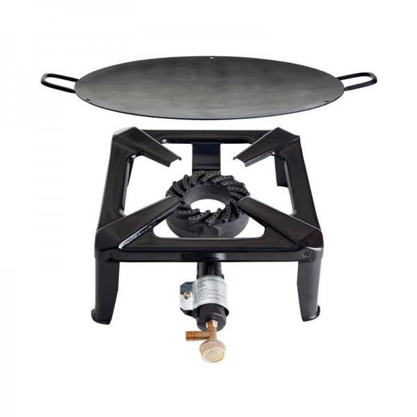 Hockerkocher-Set groß mit Eisenwok/Grillschale 50 cm - ohne Zündsicherung