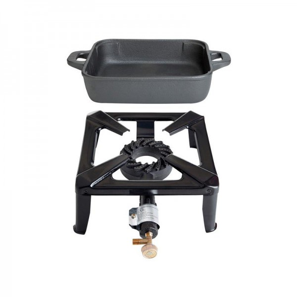 Hockerkocher-Set klein mit Gusseisenpfanne 26 x 26 cm - ohne Zündsicherung
