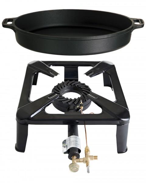 Hockerkocher groß mit Zündsicherung - inkl. Gusspfanne 40 cm