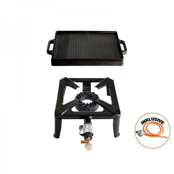 Hockerkocher-Set klein mit Gusseisengrillplatte 32 x 32 cm - ohne Zündsicherung - inkl. Gasschlauch
