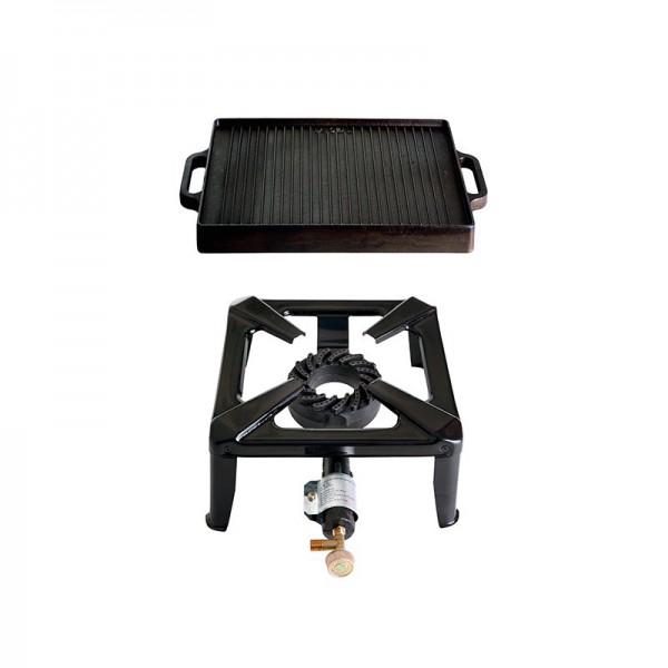 Hockerkocher-Set klein mit Gusseisengrillplatte 32 x 32 cm - ohne Zündsicherung