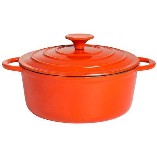 Topf aus Gusseisen Ø 22 cm orange/weiß emailliert