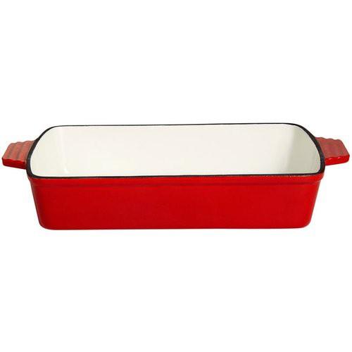 Gussschale mit 2 Griffen, 14 x 9 x 4 cm, rot/weiß emailliert