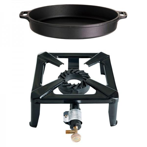 Hockerkocher-Set klein mit Gusseisenpfanne mit 40 cm - ohne Zündsicherung