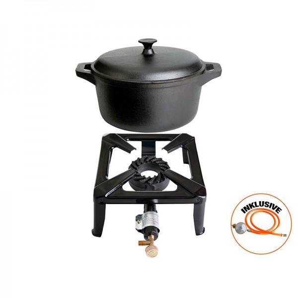 Hockerkocher-Set klein mit Gusseisentopf mit 22 cm - ohne Zündsicherung - inkl. Gasschlauch + Regler