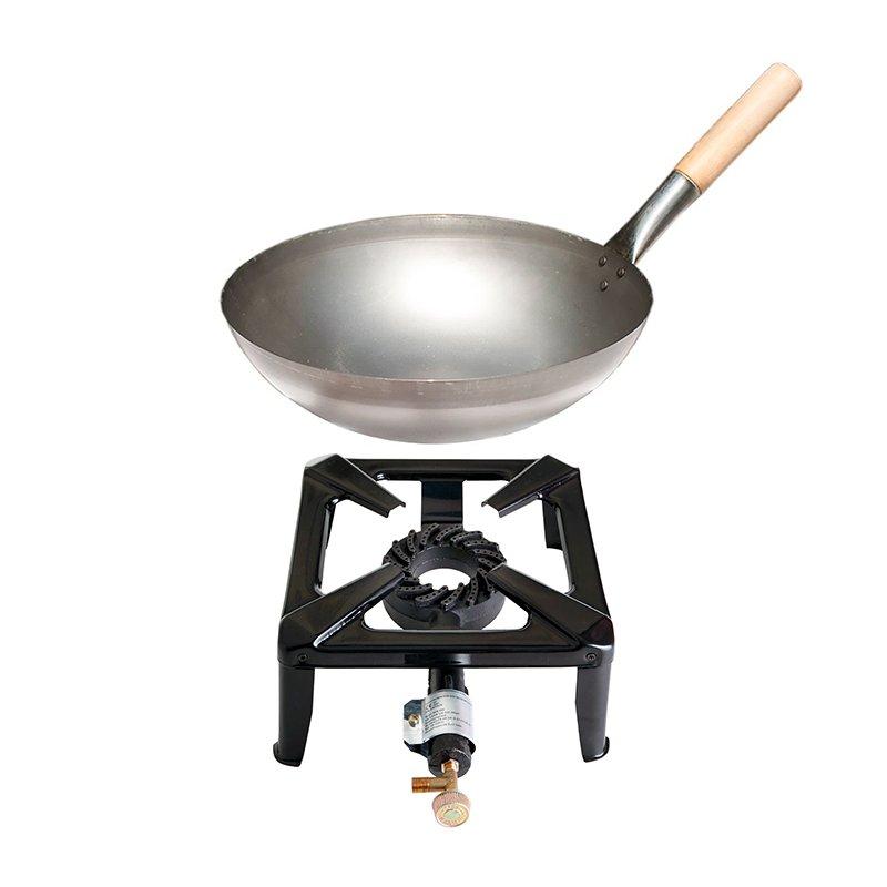 leistungsstarker hockerkocher ohne z ndsicherung mit stahl wok mit 30 cm durchmesser paella grill. Black Bedroom Furniture Sets. Home Design Ideas