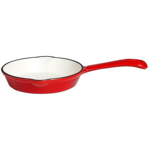 Grillpfanne aus Gusseisen, mit massivem Gussgriff, Ø 16 cm rot/weiß emailliert