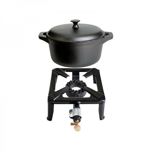 Hockerkocher-Set klein mit Gusseisentopf mit 22 cm - ohne Zündsicherung