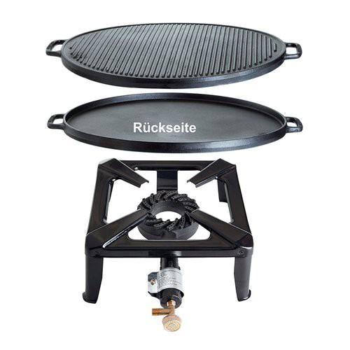 Hockerkocher-Set groß mit Gusseisengrillplatte 45 cm - ohne Zündsicherung