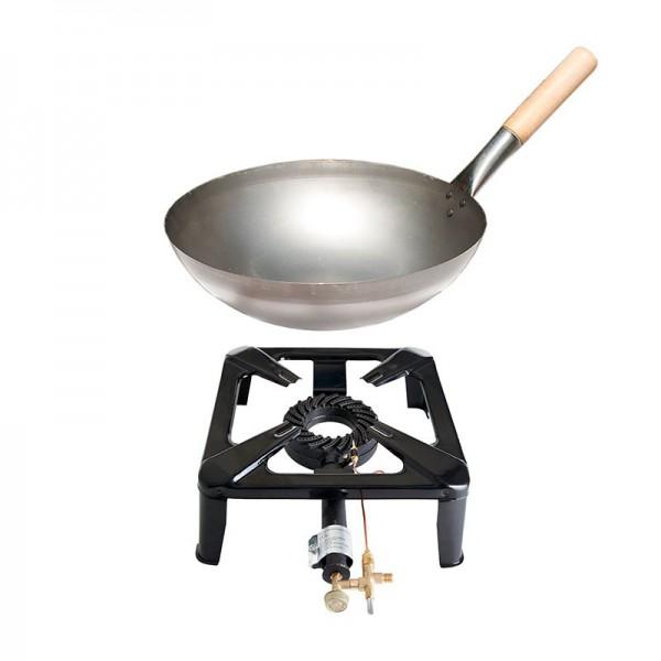 Hockerkocher-Set klein mit Stahl-Wok 30 cm - mit Zündsicherung
