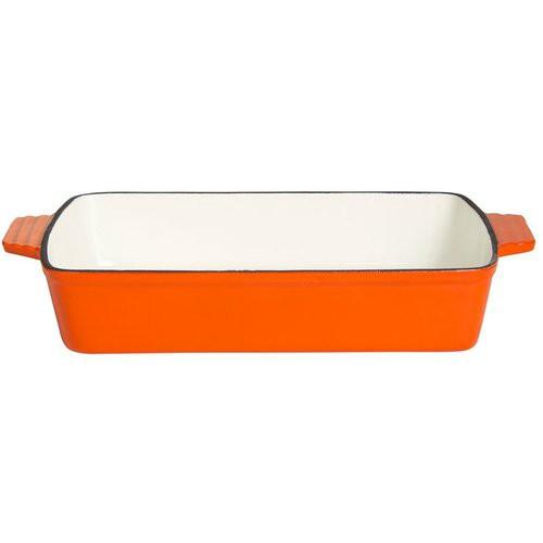 Gussschale mit 2 Griffen, 14 x 9 x 4 cm, orange/weiß emailliert