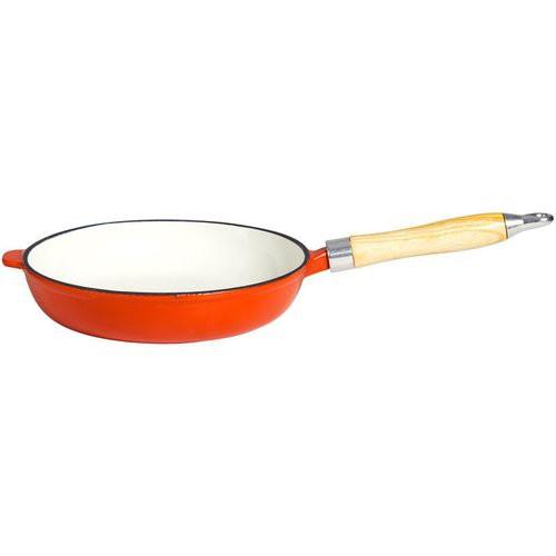 Grillpfanne aus Gusseisen, mit Holzgriff, Ø 23 cm orange/weiß emailliert