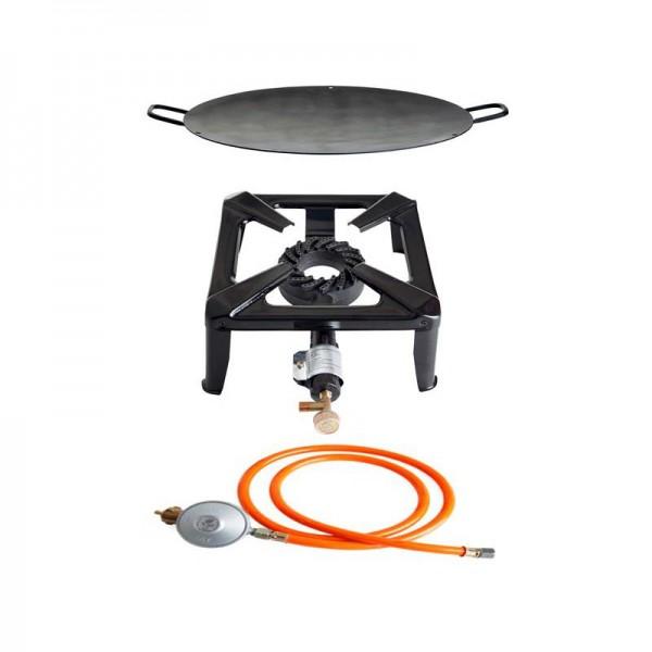 Hockerkocher-Set klein mit Eisenwok 50 cm - ohne Zündsicherung - inkl. Gasschlauch + Regler