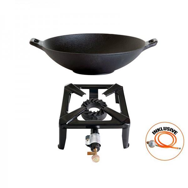 Hockerkocher-Set klein mit Gusseisen-Wok 37 cm - ohne Zündsicherung - inkl. Gasschlauch + Regler