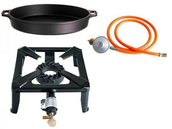 Hockerkocher-Set klein mit Gusseisenpfanne 40 cm - ohne Zündsicherung - inkl. Gasschlauch+Regler