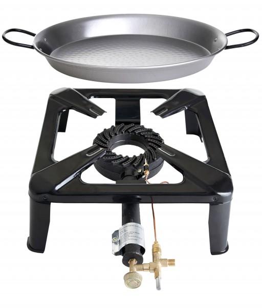 Hockerkocher klein mit Zündsicherung - inkl. Paella Pfanne Stahl 42