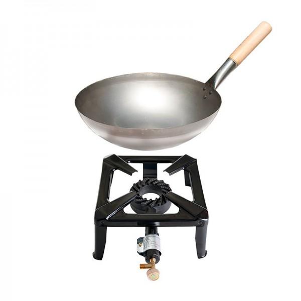 Hockerkocher-Set klein mit Stahl-Wok 30 cm - ohne Zündsicherung