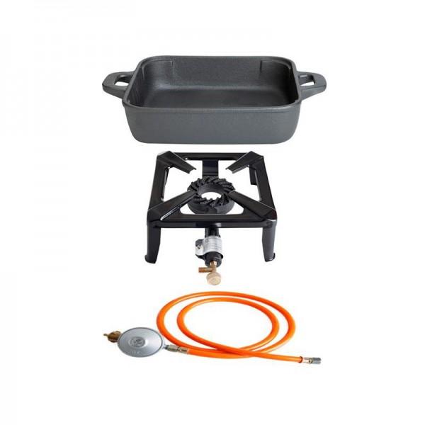 Hockerkocher-Set klein mit Gusseisenpfanne 26 x 26 cm - ohne Zündsicherung - inkl. Gasschlauch und R