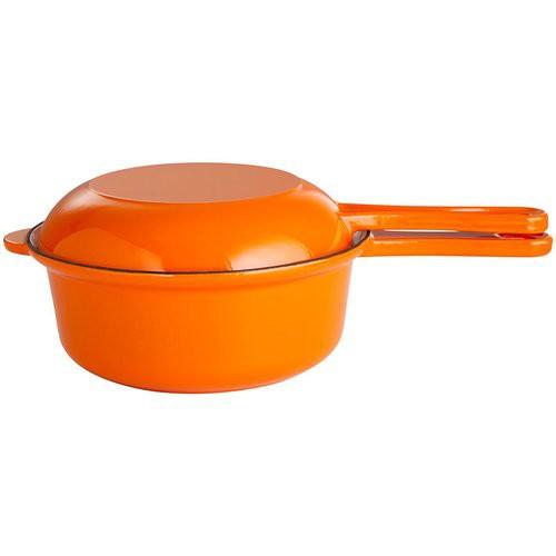 2in1 Gusstopf-Pfannenkombination mit Stiel und Topfdeckel, Ø 22 cm orange/weiß emailliert
